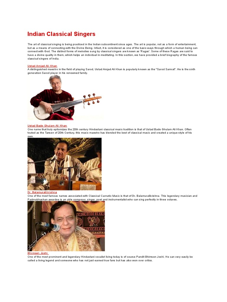 Indian Classical Singers with photos | Classical And Art Music