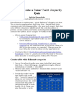 How to Create a Power Point Jeopardy Quiz