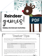Holiday Freebie Reindeer Games Math Enrichment and Creative Thinking