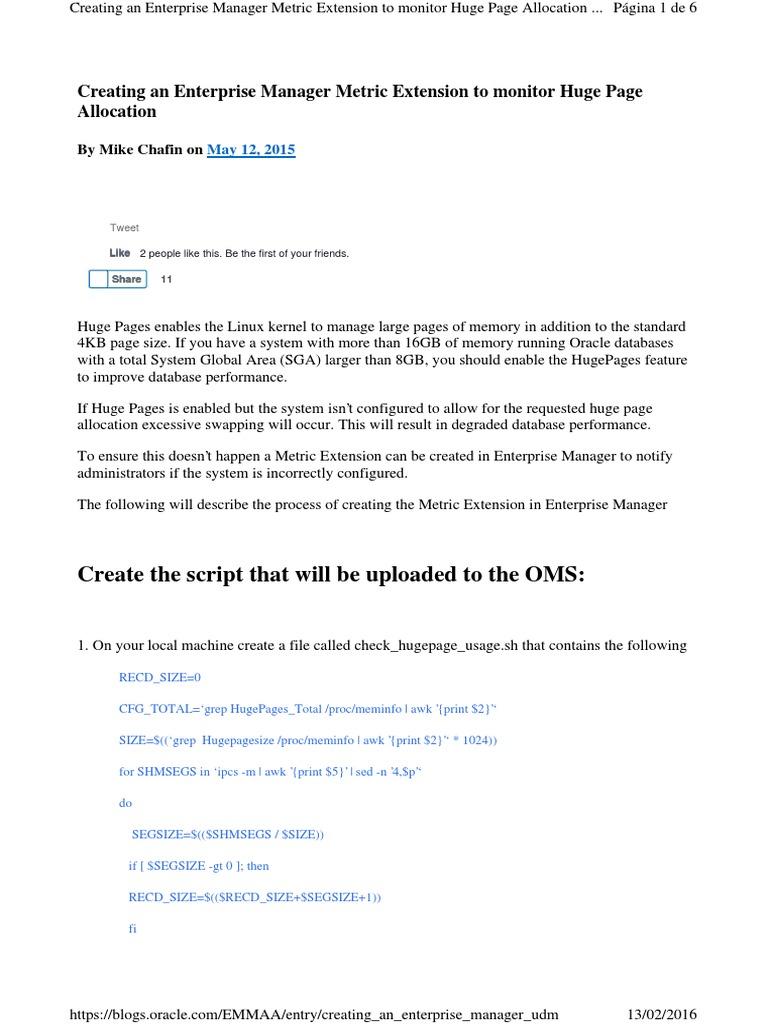 Creating an Enterprise Man Huge Pages   Oracle Database