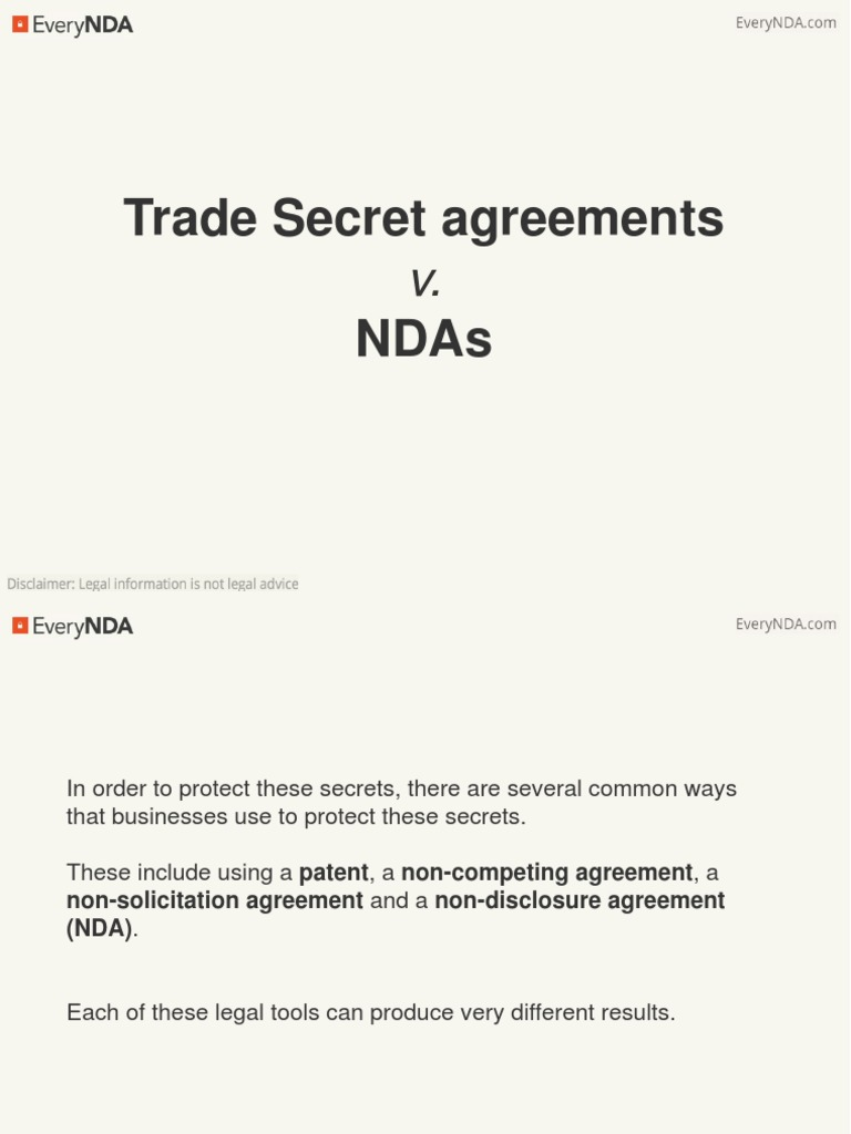 Trade Secrets Agreements V Ndas Non Disclosure Agreement Trade