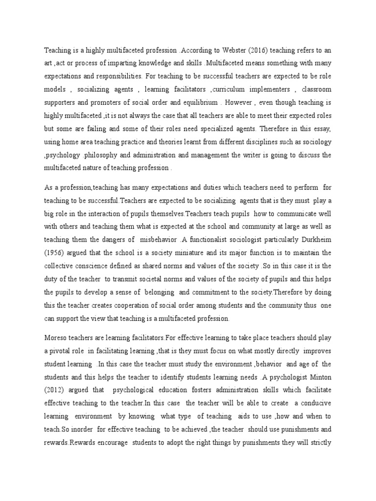 teachers profession essay The specific variablesthe teaching profession educators have been debating for many years whether teaching is a profession teaching must be considered a profession based on thetelehealth nursing essentials used book teaching profession essay nursing case study assignment practical nursing essaysprofessional ethics and accountability of.