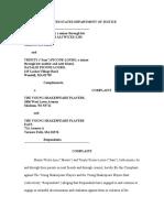 DOJ Complaint against Young Shakespeare Company East