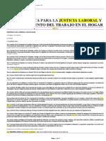 Ley Organica Para La Justicia Laboral y Reconocimiento Del Trabajo en El Hogar