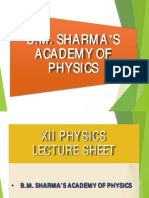 BM Sharma  Lecture Sheet 12th