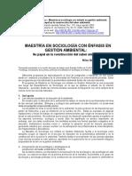 MAESTRÍA EN SOCIOLOGÍA CON ÉNFASIS EN GESTIÓN AMBIENTAL:
