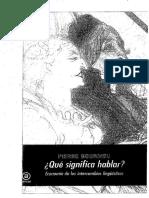 Bourdieu - Qué Significa Hablar