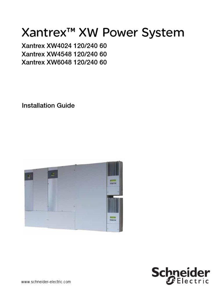 Schneider Conext Xw Power System Installation Guide Rev F Eng Lb75 Wiring Diagram Inverter Battery Charger