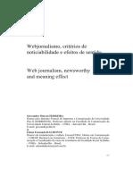 Webjornalismo, Critérios de Noticiabilidade e Efeitos de Sentido