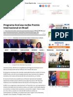 23 - 05 - 16 Programa EcoCasa Recibe Premio Internacional en Brasil - Centro Urbano