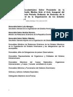 Discurso del Presidente de la República, Lic. Danilo Medina Ante el Acto Inaugural del Cuadragésimo Sexto Período Ordinario de Sesiones de la Asamblea General de la Organización de los Estados Americanos (OEA).