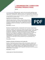 Ingeniería, Organización y Dirección de Sistemas Productivos