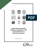 La Red G9 Ante La Reforma a La Educación Superior