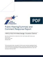 Public Hearing Summary and Comment Response Report I-69 S/I-610 W Interchange, Houston District