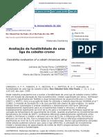 Avaliação Da Fundibilidade de Uma Liga de Cobalto-cromo