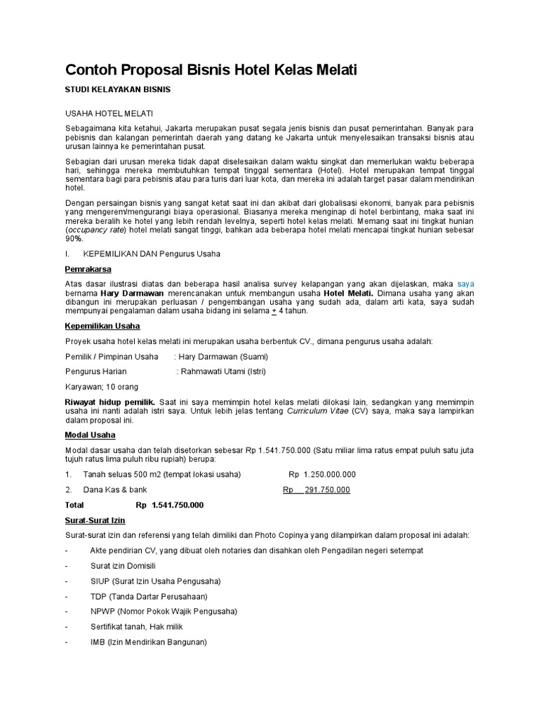 Contoh Proposal Bisnis Hotel Kelas Melati