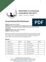Second Saturday Bird Walk Report May 14, 2016