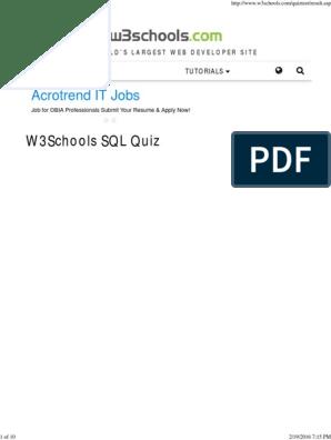 W3Schools SQL Quiz Test | J Query | Sql