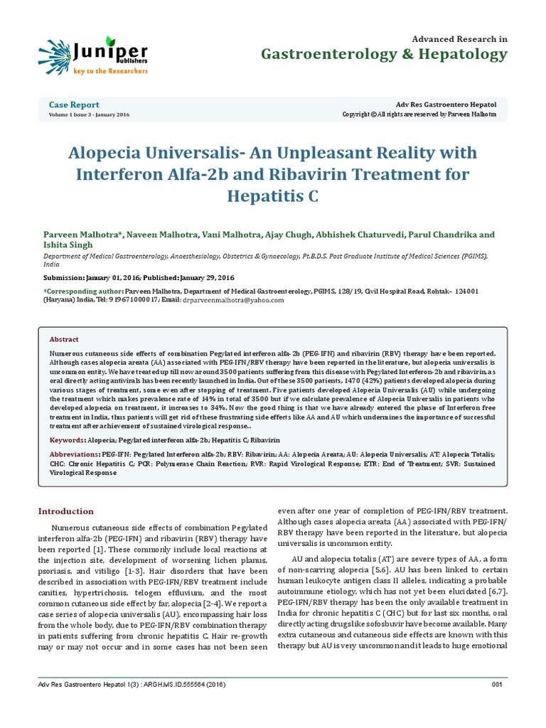 Medical abbreviations hcv - Alopecia Universalis An Unpleasant Reality With Interferon Alfa 2b And Ribavirin Treatment For Hepatitis C Autoimmunity Autoimmune Disease
