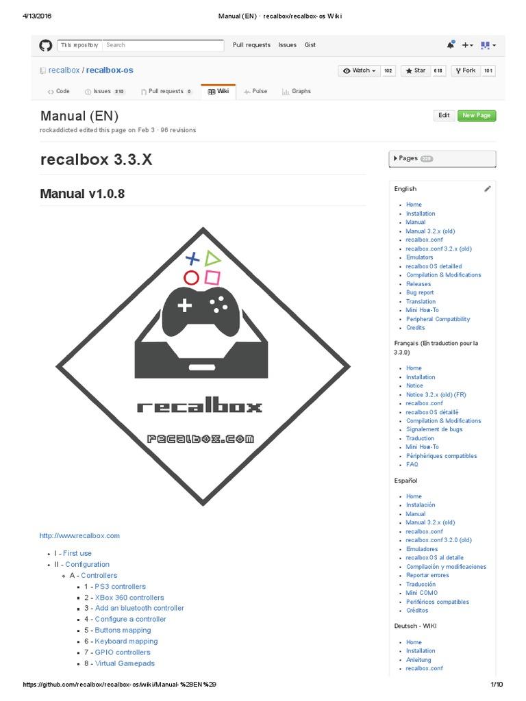 Manual (en) · Recalbox_recalbox-os Wiki | Video Game