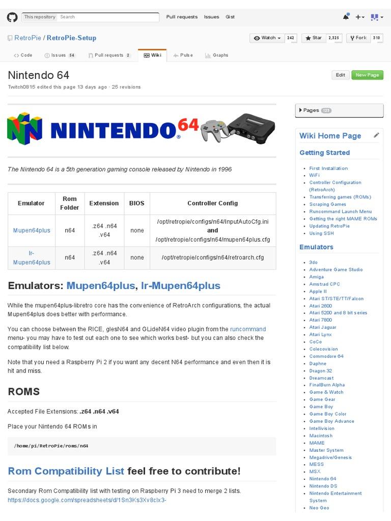 Nintendo 64 · RetroPie_RetroPie-Setup Wiki | Personal