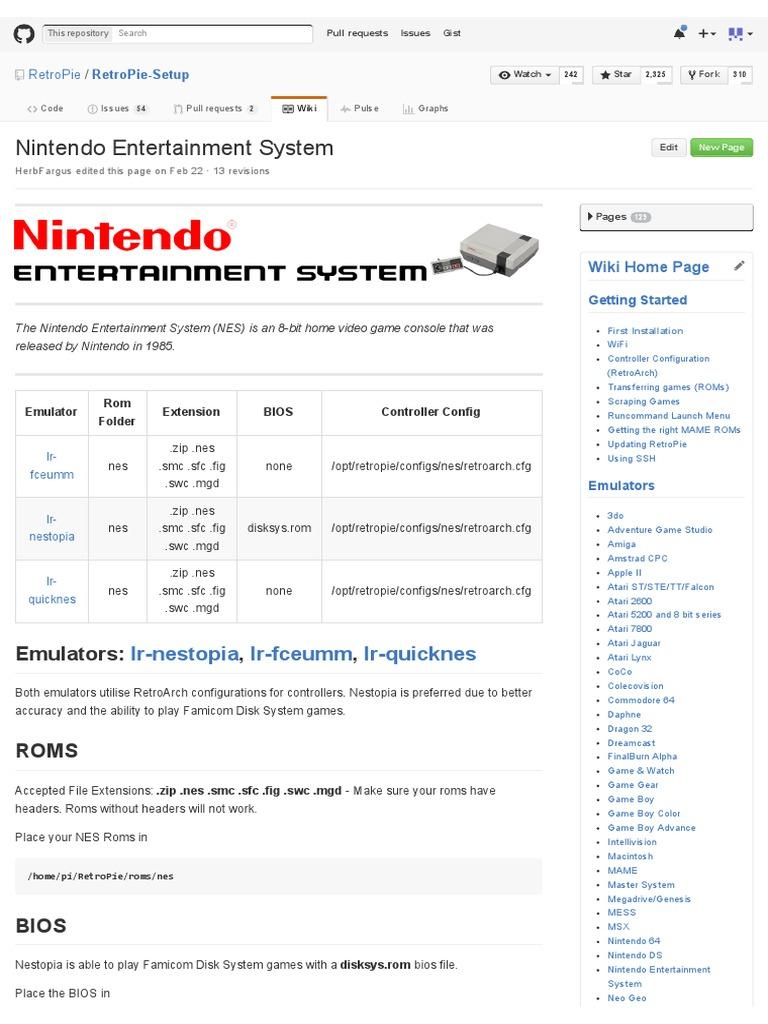 Nintendo Entertainment System · RetroPie_RetroPie-Setup Wiki | Bios