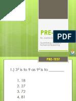 PRETEST-Quantitative Analysis & Numerical Reasoning