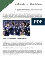 Prediksi Terbaru Prancis vs Albania Kamis 16 Juni 2016