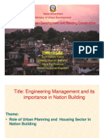 Role of Urban Planning and Housing Sector In