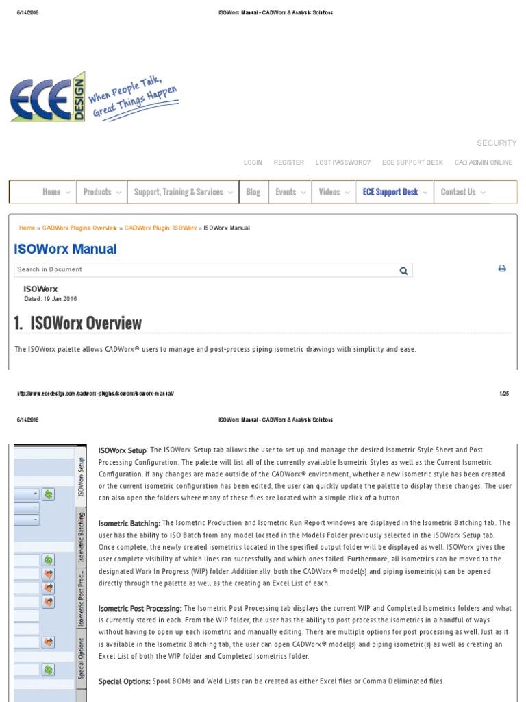 ISOWorx Manual - CADWorx & Analysis Solutions.pdforx Manual - CADWorx &  Analysis Solutions   Comma Separated Values   Microsoft Excel
