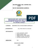 Acetaldehido, Piedra Pomez, Cobre