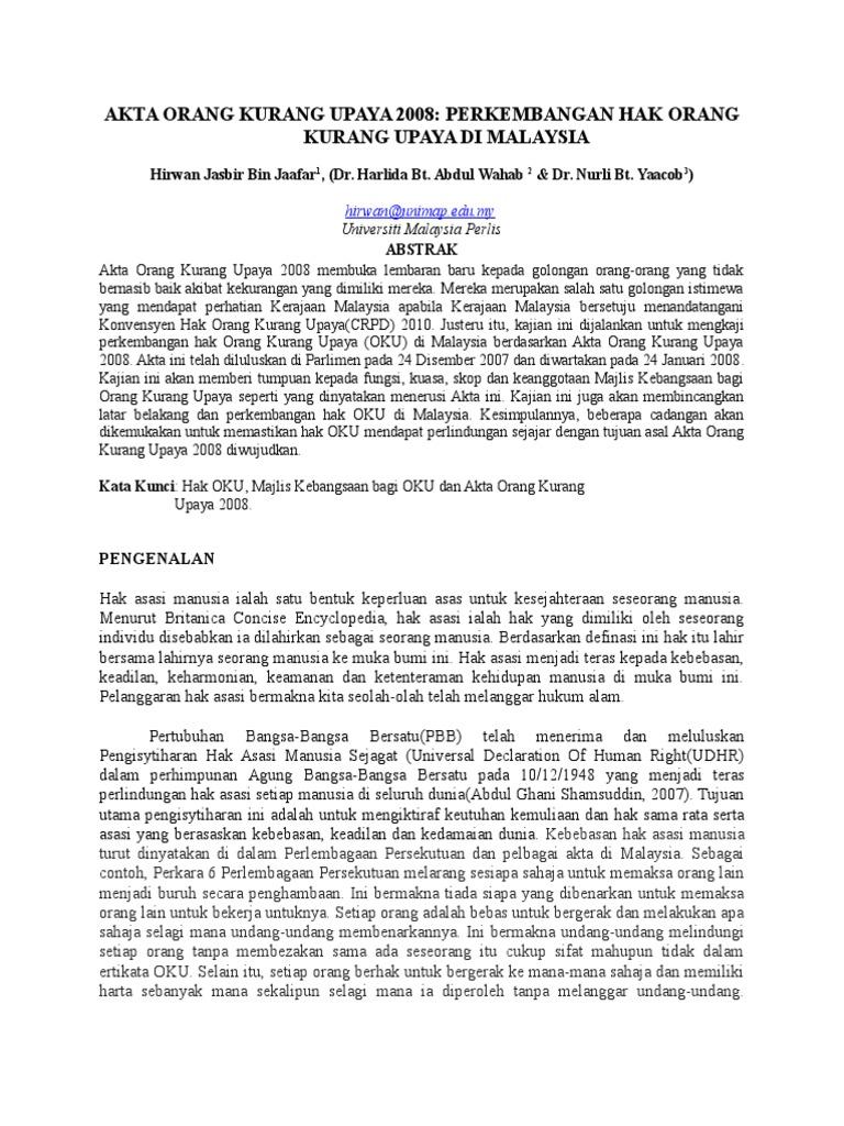 Akta Orang Kurang Upaya 2008 Perkembangan Hak Orang Kurang Upaya Di Malaysia