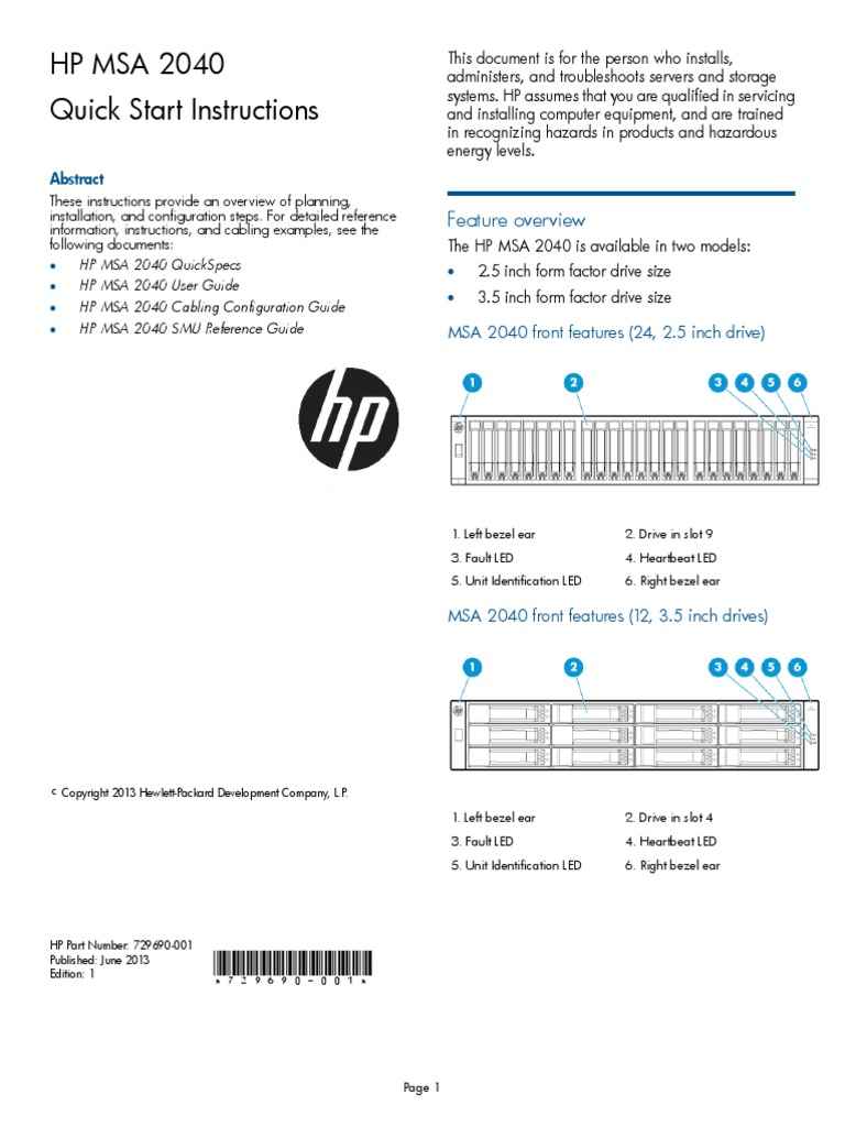 HP MSA 2040 Quick Start | Hewlett Packard | Websites