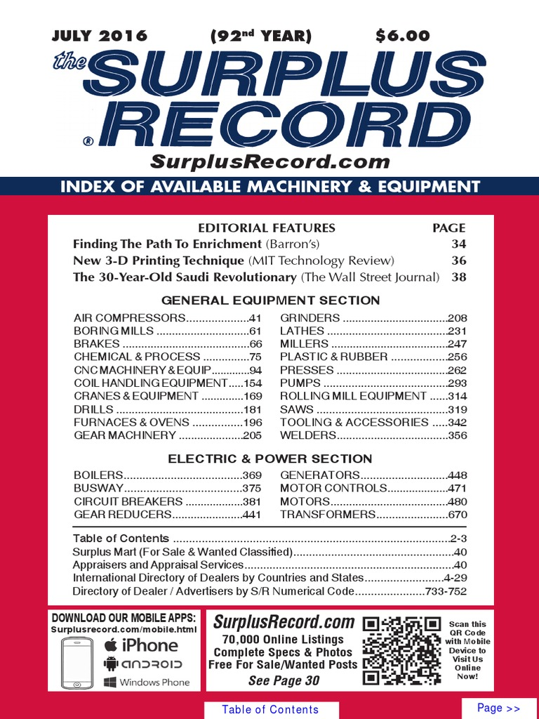 July 2016 surplus record machinery equipment directory fandeluxe Image collections