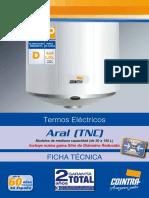 Ficha Tecnica Termos Electricos Aral Tnc Mediana Capacidad 30 150 l Cointra