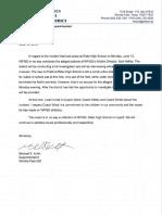 Rider High School June 13 Incident - Statement