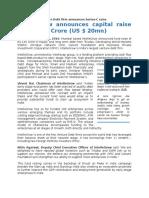 Press Release - IntelleGrow Announces Capital Raise of INR 134 Cr - June 14 2016