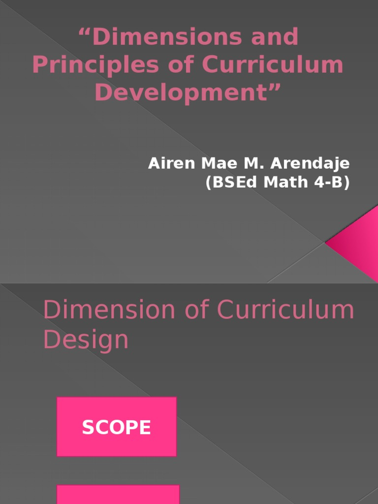 dimensions of curriculum design