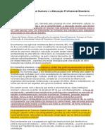 A Teoria Do Capital Humano e Educação Profissional Brasileira