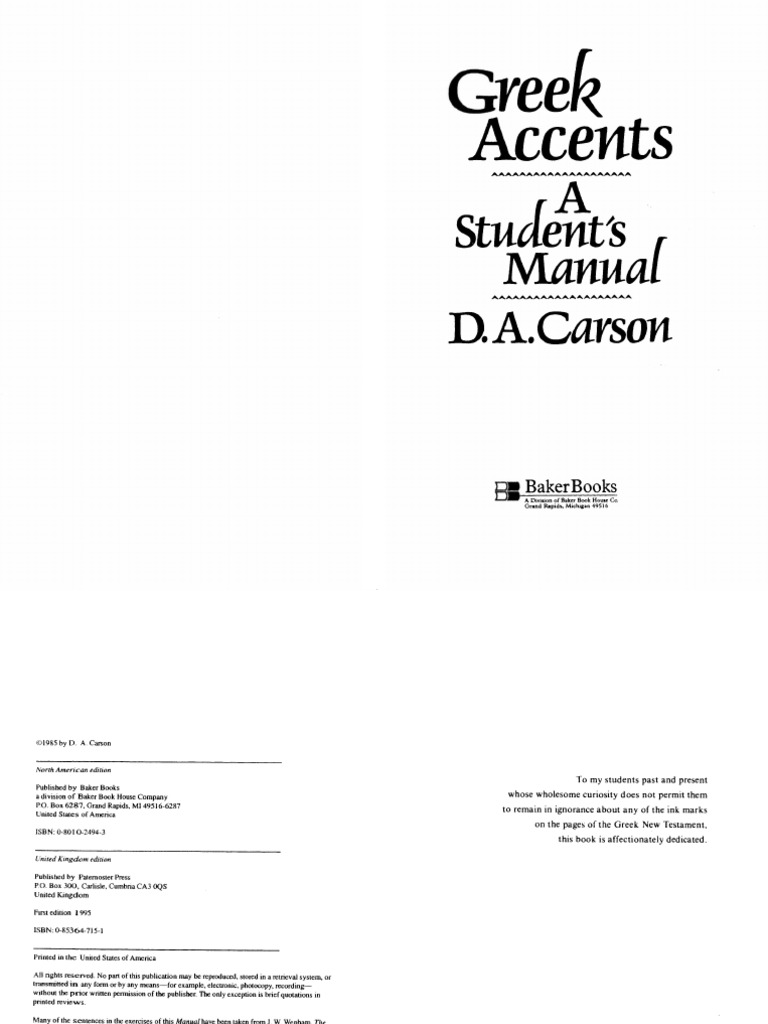 Greek Accents, a Student's Manual by D  A  Carson | Stress