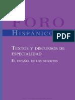 Textos y Discursos de Especialidad El Espa 241 Ol de Los Negocios (2)