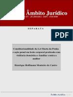Constitucionalidade da Lei Maria da Penha e ação penal em lesão corporal praticada com violência doméstica e familiar contra a mulher