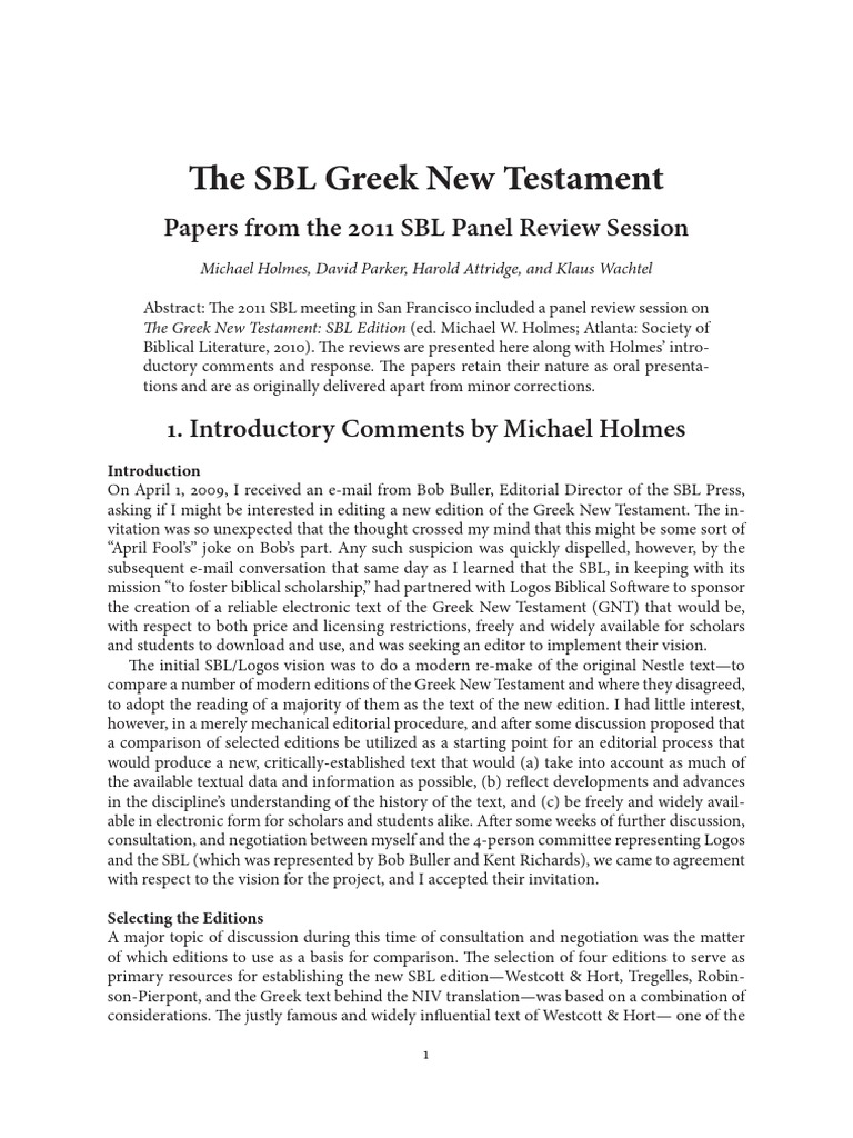 the sbl greek new testament michael holmes et al textual