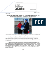 BRABENEC PRESENTS CERTIFICATE OF RECOGNITION TO EMPIRE DINER, NEW OWNER DAVE WENGER