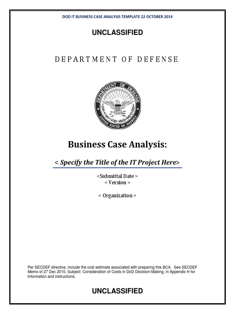 Dod it business case analysis bca template classified dod it business case analysis bca template classified information risk management accmission Images