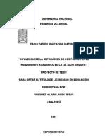 INFLUENCIA DE LA SEPARACION DE LOS PADRES EN EL RENDIMIENTO ACADEMICO