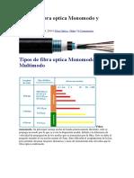 Tipos de Fibra Optica Monomodo y Multimodo