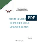 Rol de La Ciencia y Tecnologia en la dinamica de hoy