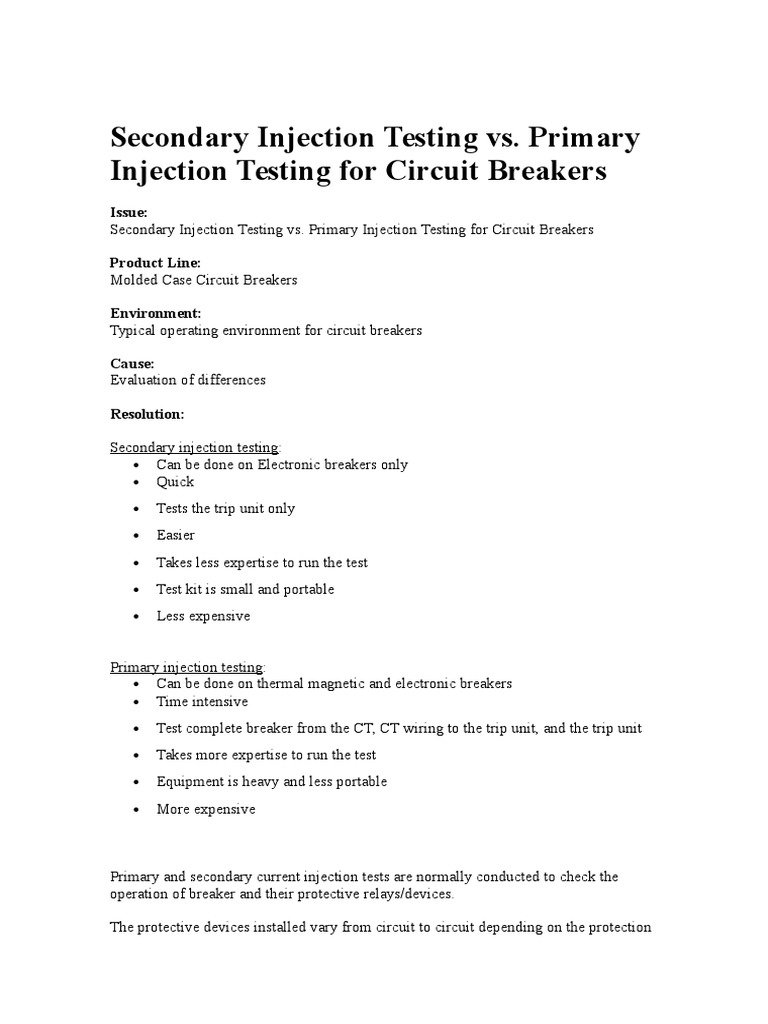 Secondary Injection Testing Vs Primary Relay Electric Current Portable Circuit Breaker