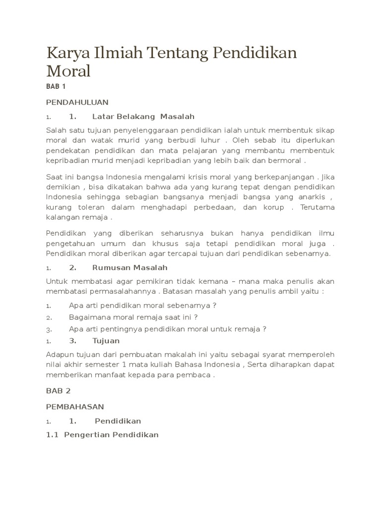 Karya Ilmiah Tentang Pendidikan Moral